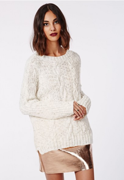 Misguided Eulalia Knitted cable Jumper