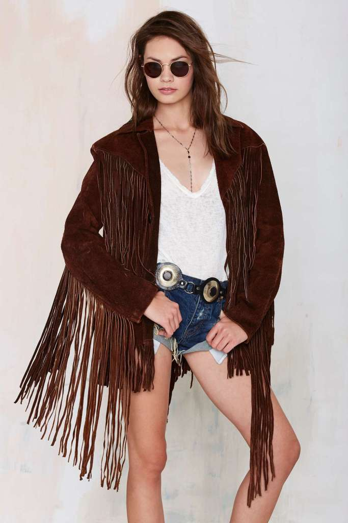 Nasty Gal Vintage Call of the Wild Suede Fringe Jacket