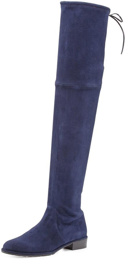 Stuart Weitzman Lowland Suede Over-the-Knee Boot, Nice Blue