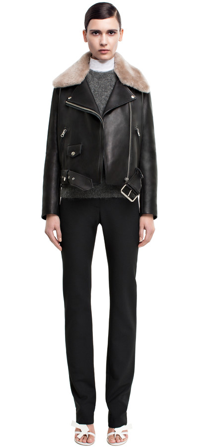 Acne Studios Mape Shearling Leather Moto Jacket