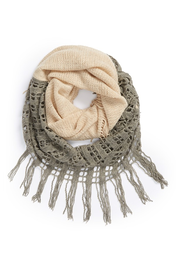 BP two tone open weave infinity scarf