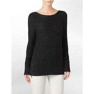 Calvin Klein Womens Knit Side Zip Detail Sweater