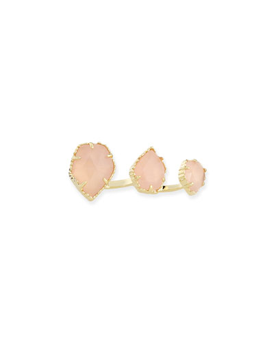 Kendra Scott Naomi Rose Quartz Double Ring