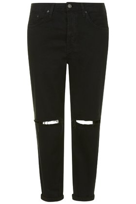 Topshop MOTO BLACK RIPPED HAYDEN JEANS