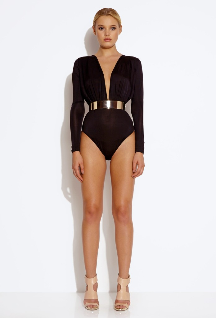 CRAY RUCHED BODYSUIT - BLACK