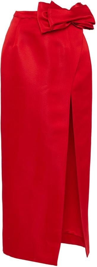Katie Ermilio Origami Bow Slit Midi Skirt