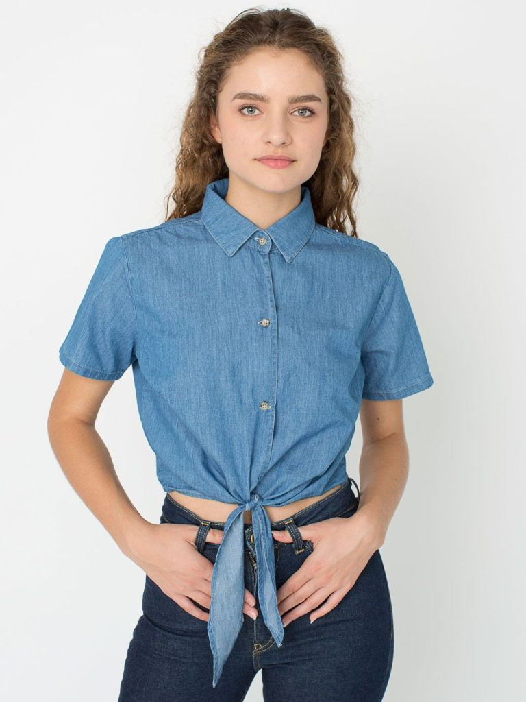 Denim Mid-Length Tie-Up Blouse