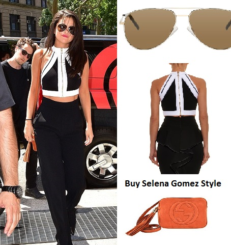 Selena Gomez black and white pants suit instagram