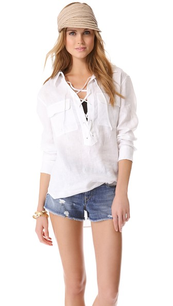 Equipment Knox lace up linen shirt