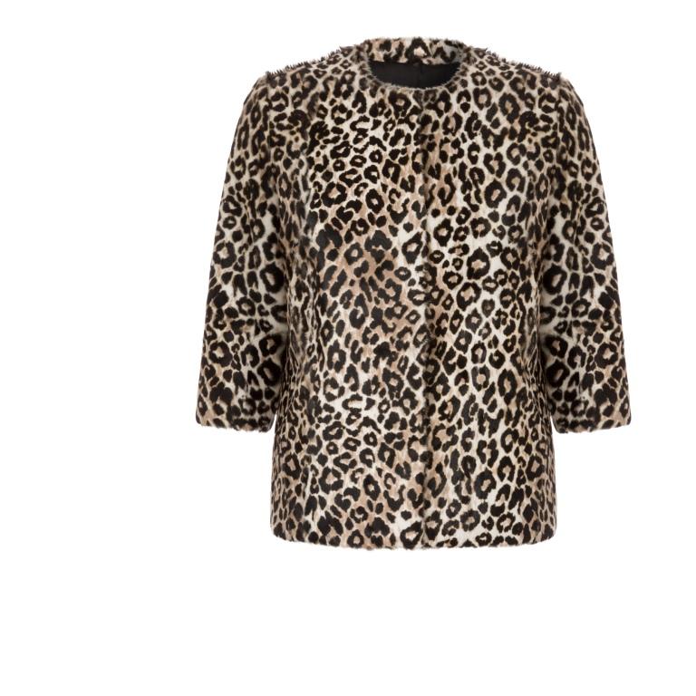 Maje Klimt Long Leopard Print Jacket
