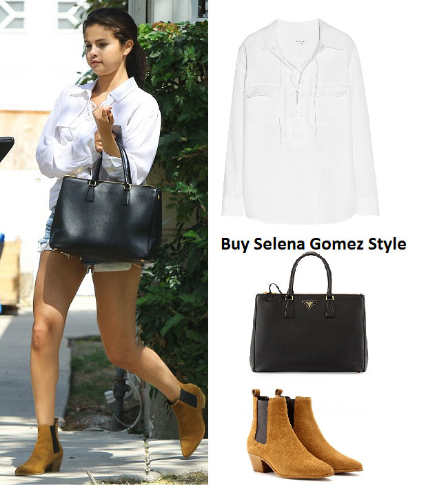Selena Gomez black bag white lace up shirt denim shorts instagram
