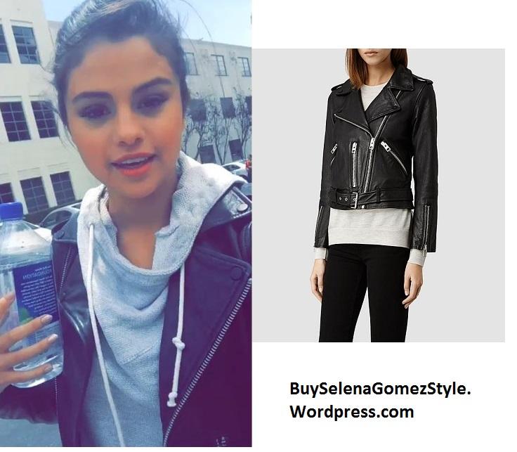 Selena Gomez black leather jacket instagram