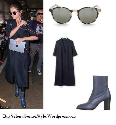 Selena Gomez blue boots black coat photo instagram