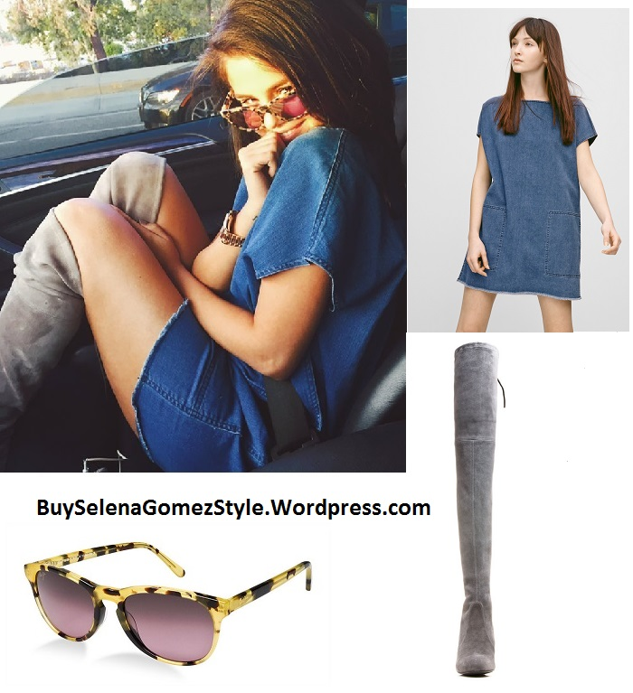 Selena Gomez denim dress grey boots instagram