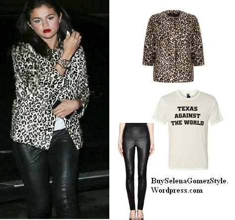 Selena Gomez leopard jacket leather pants instagram