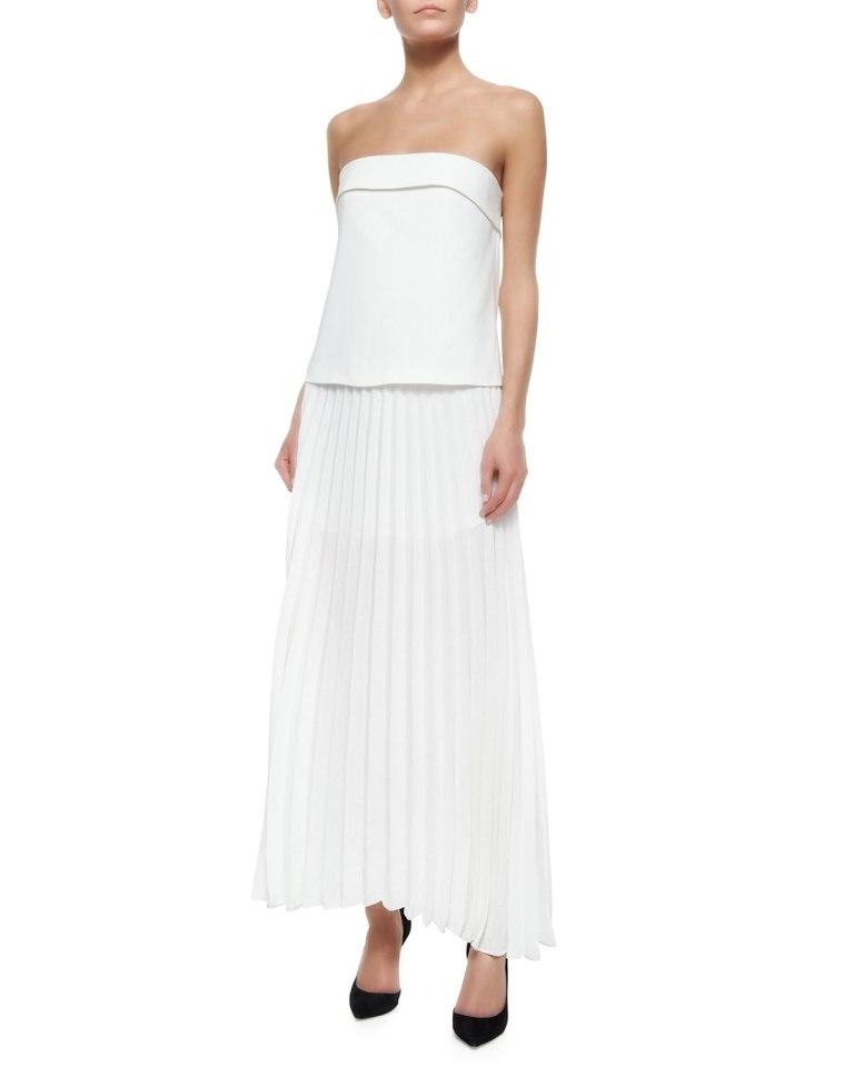 A.L.C. Brock Strapless Pleated Maxi Dress