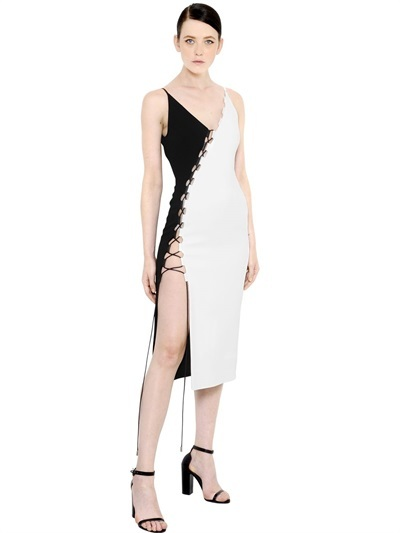 David Koma Two Tone Cady Lace-up dress