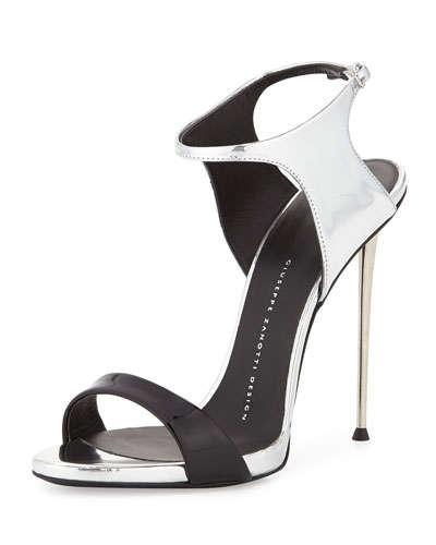Giuseppe Zanotti Patent Metallic Ankle Wrap Sandals