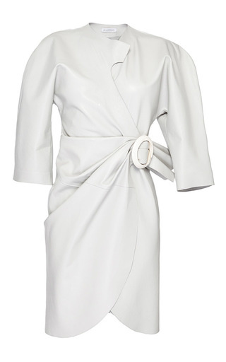 J.W. Anderson white leather curve wrap dress with buckle