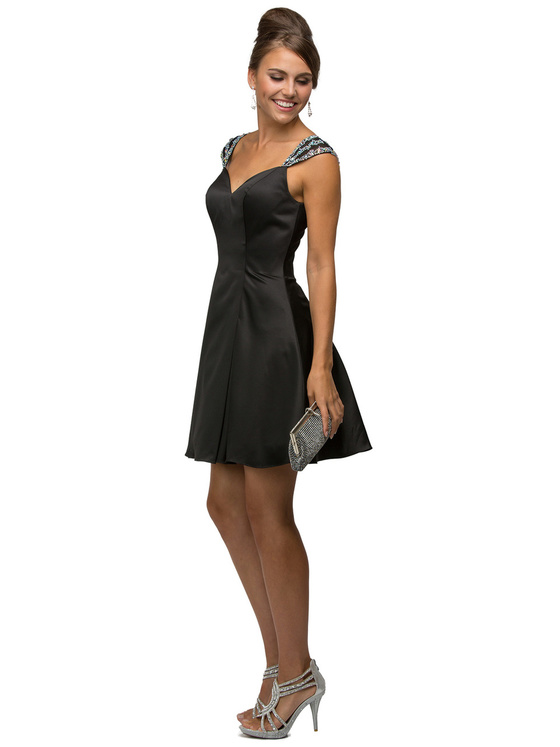 Jeweled Cap Sleeves Sweetheart Short Satin A-line Dress