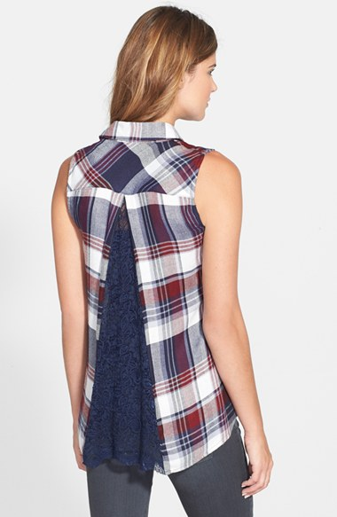 Max & Mia Lace Back Plaid Shirt back