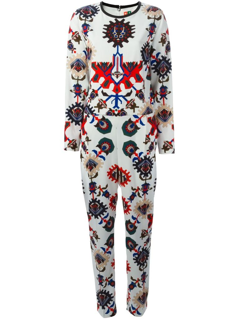 MSGM mechanic flower print jumpsuit
