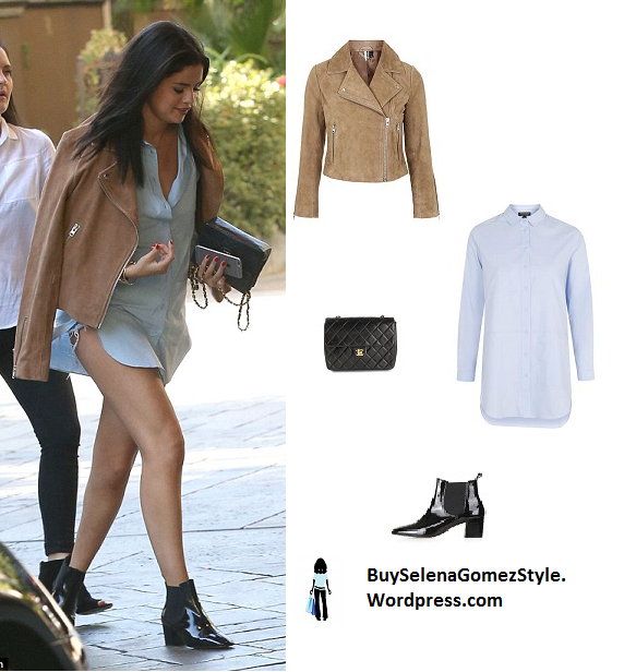 selena gomez brown suede biker jacket instagram