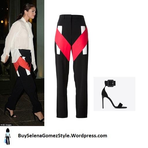 Selena Gomez cream blouse red black white pants instagram
