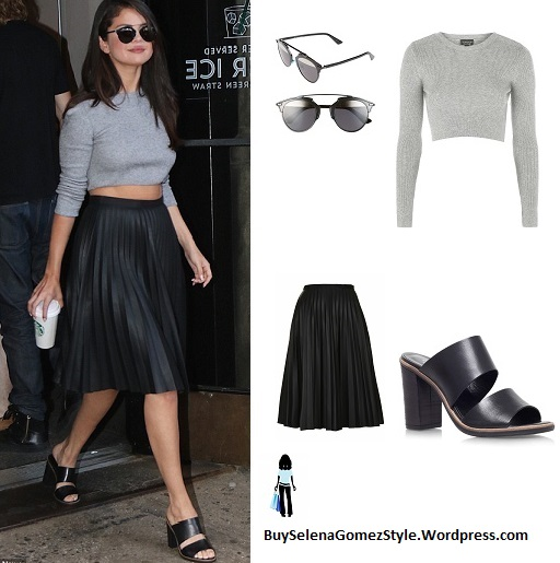 Selena Gomez cropped grey sweater black pleated skirt instagram