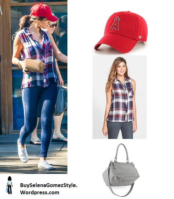 Selena Gomez plaid shirt red baseball cap instagram