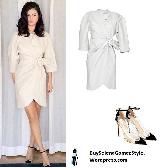 Selena Gomez white leather dress instagram