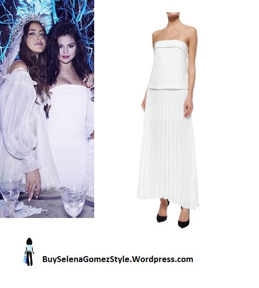 Selena Gomez white strapless dress instagram