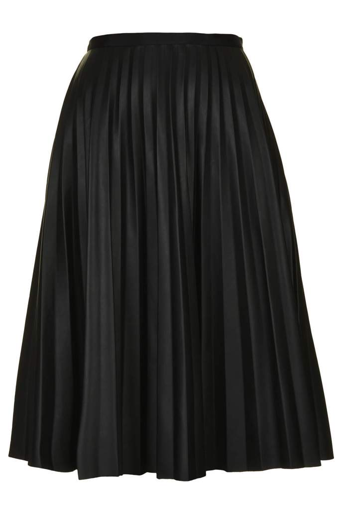 Topshop PU Black Pleated Midi Skirt