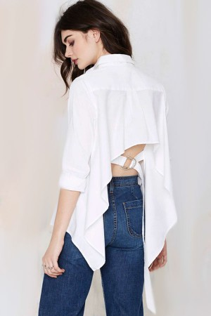 Maykool white button up-asymmetrical hem shirt