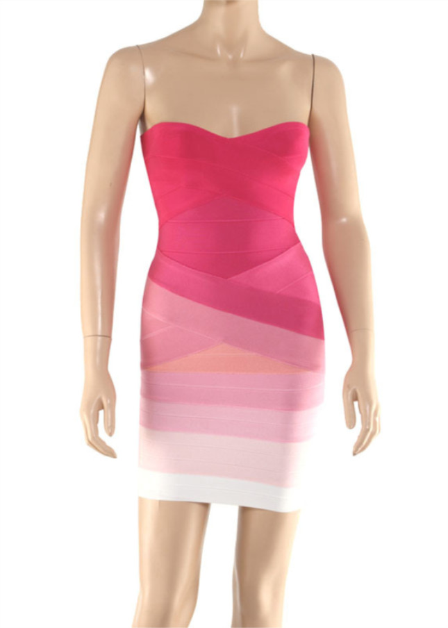 Strapless Sweetheart Pink Ombre Bandage Dress