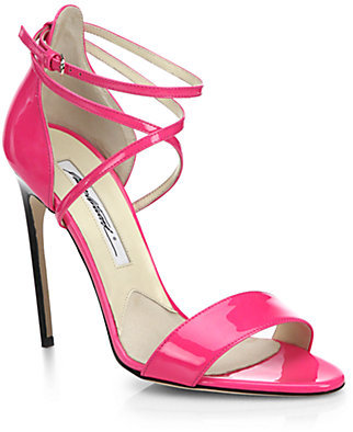 Brian Atwood 'Tamy' Criss Cross Patent Leather Strappy Sandals