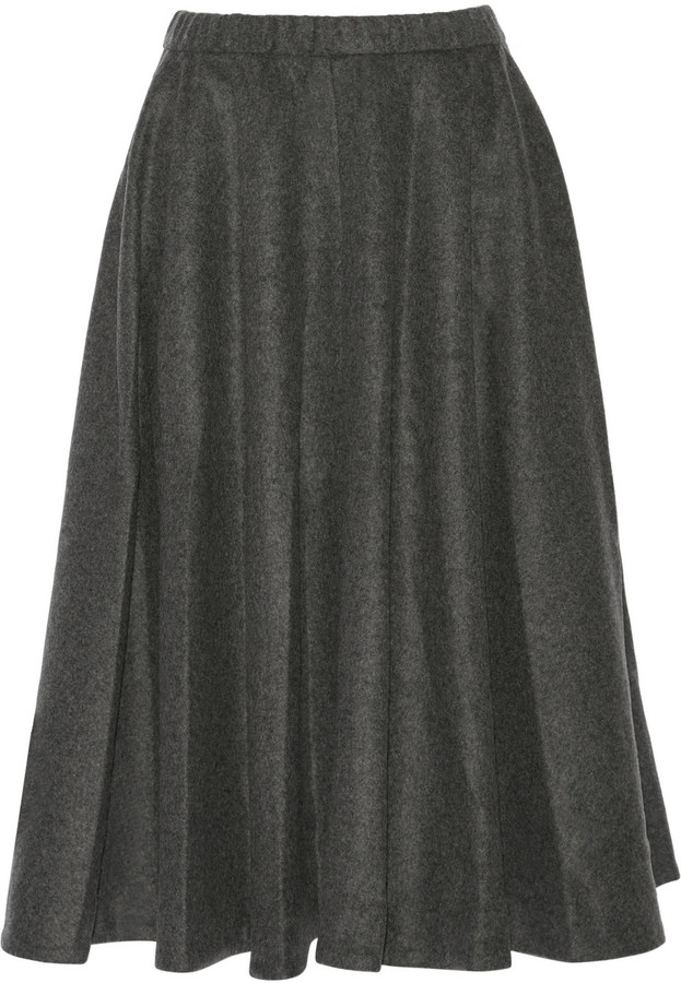 Co Wool-Blend flannel Midi Skirt