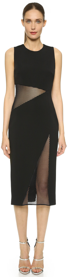 cushnie et ochs Fall 2015 mesh panel sheath dress