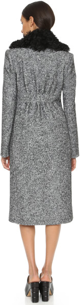 EDUN Shearling collared coat back