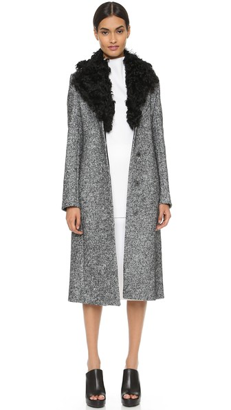 EDUN Shearling collared coat