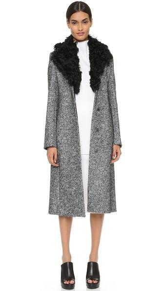 EDUN Shearling collared coat