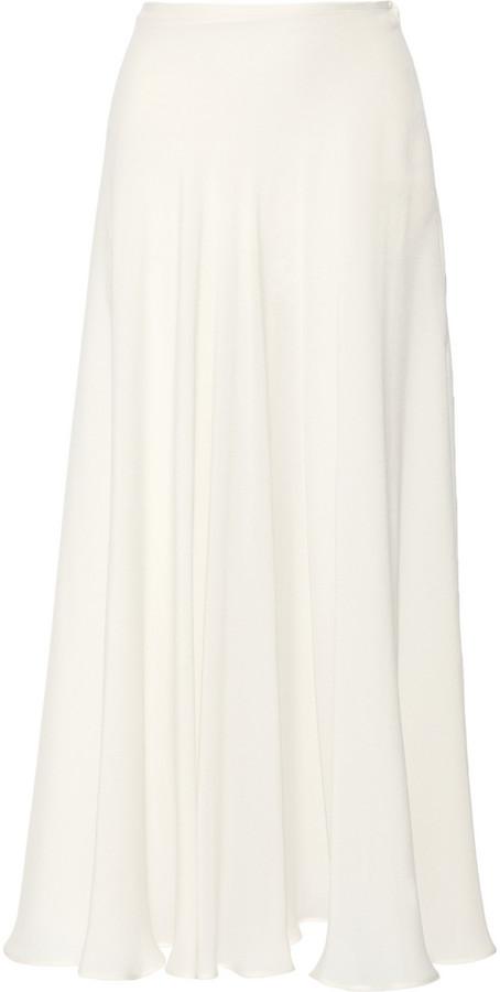 Elie Saab Silk-blend crepe maxi skirt