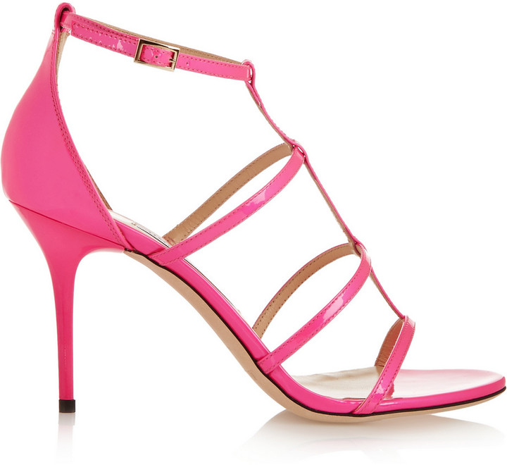 Jimmy Choo 'Dory' Neon Patent Leather Sandals