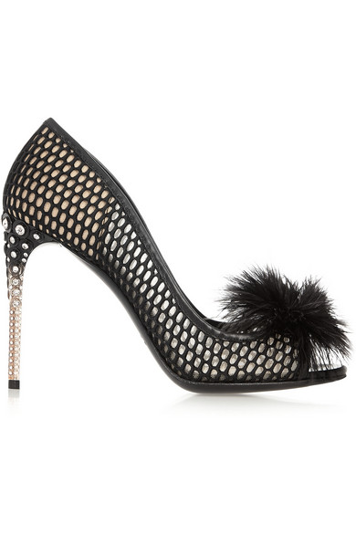 Miu Miu Feather Embellished Mesh Peep-Toe Pumps