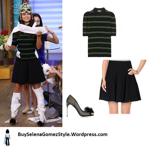 Selena Gomez black and green stripe jumper instagram