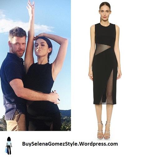 Selena Gomez black and mesh bodycon dress instagram