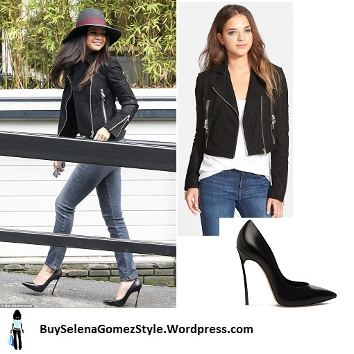Selena Gomez black biker jacket jeans London instagram