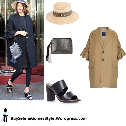 Selena Gomez black coat hat mules Paris instagram