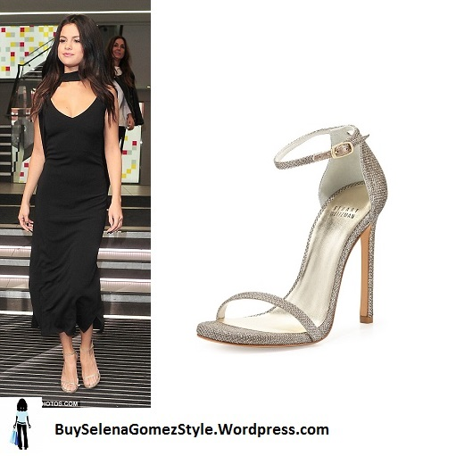 Selena Gomez black dress gold sandals instagram
