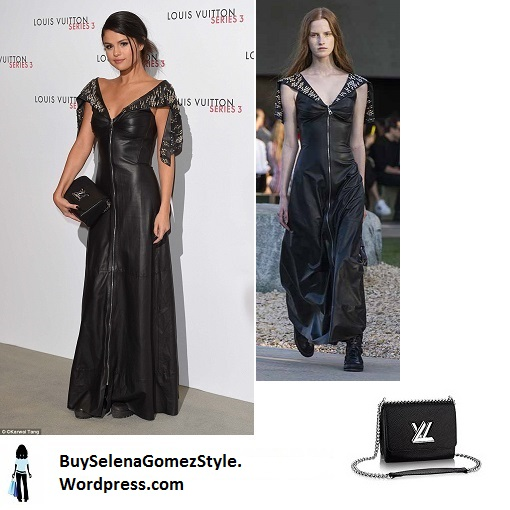 Selena Gomez black leather maxi dress Louis Vuitton instagram